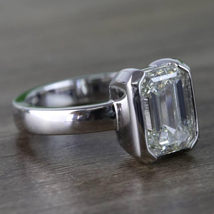 Custom Emerald Half Bezel Diamond Engagement Ring (3 Carat) angle 3