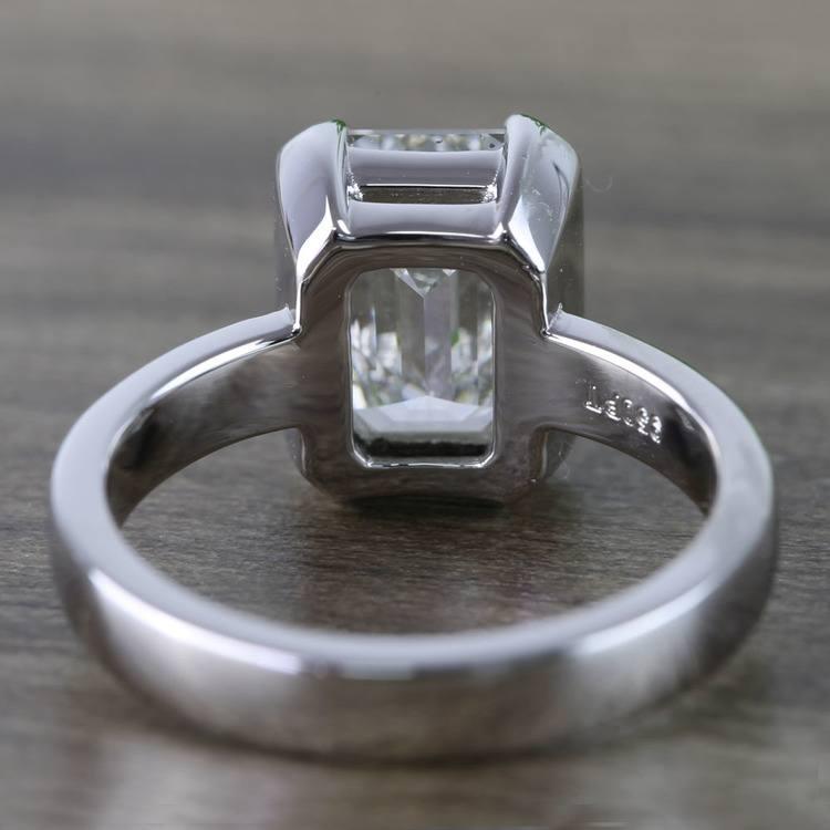 Custom Emerald Half Bezel Diamond Engagement Ring (3 Carat) angle 4