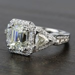 Custom Emerald & Trillion Halo Diamond Engagement Ring - small angle 2