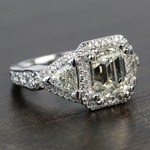 Custom Emerald & Trillion Halo Diamond Engagement Ring - small angle 3