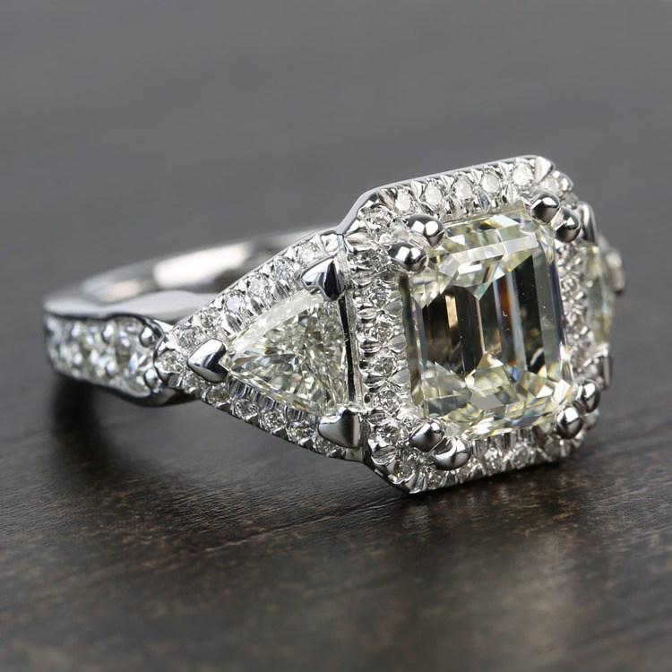 Custom Emerald & Trillion Halo Diamond Engagement Ring angle 3