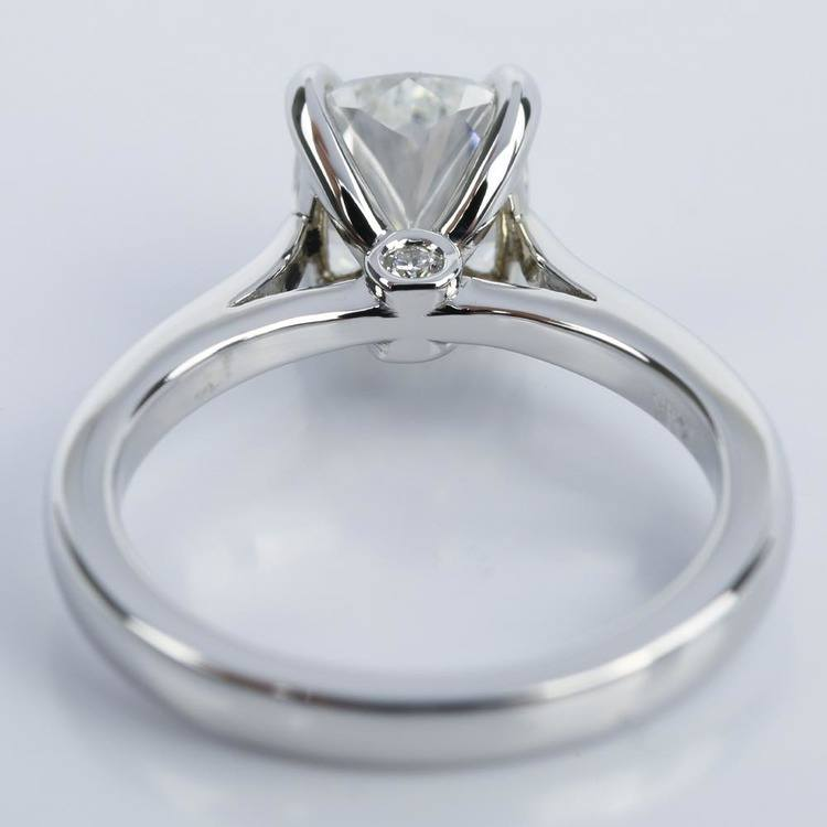 Cathedral Engagement Ring with Cushion Diamond and Peekaboo Stone angle 4