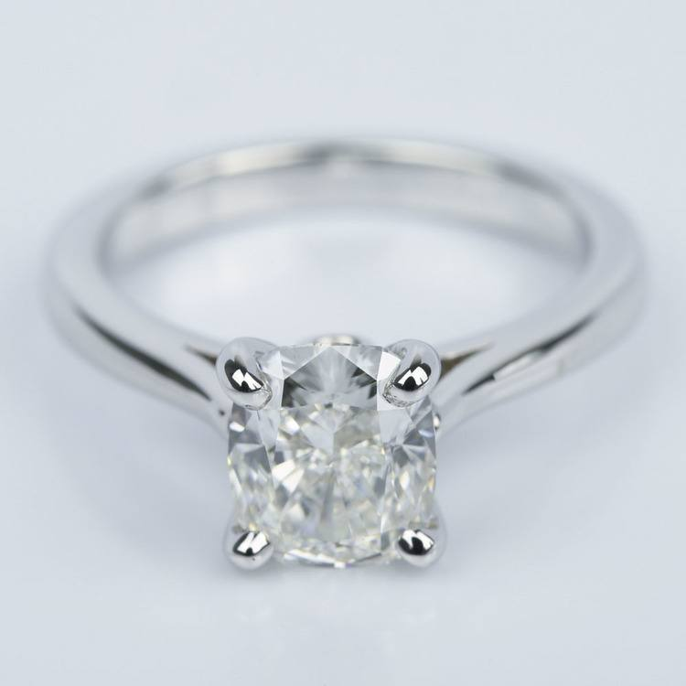 Cathedral Engagement Ring with Cushion Diamond and Peekaboo Stone