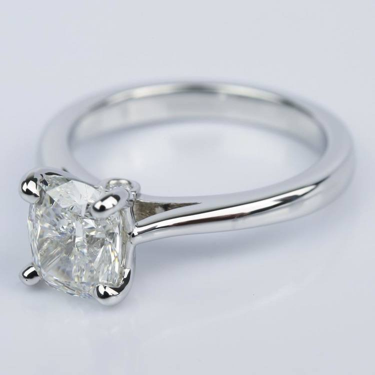 Cathedral Engagement Ring with Cushion Diamond and Peekaboo Stone angle 2