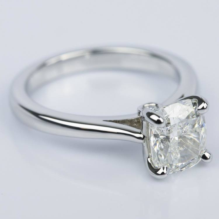 Cathedral Engagement Ring with Cushion Diamond and Peekaboo Stone angle 3