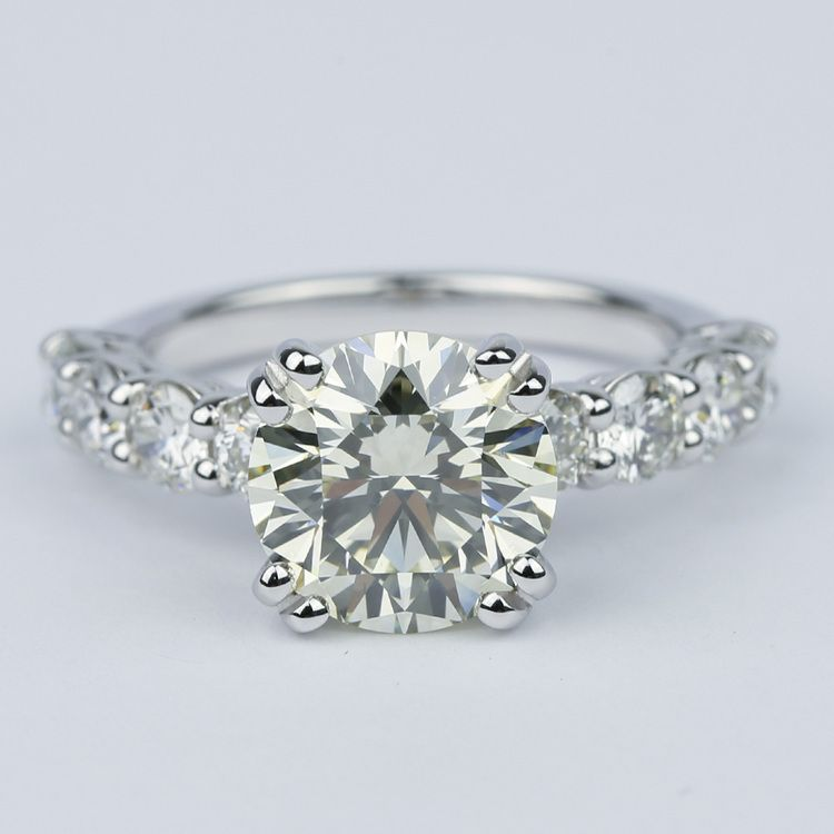 Diamond Engagement Ring with Large Side Diamonds (2 Carat)