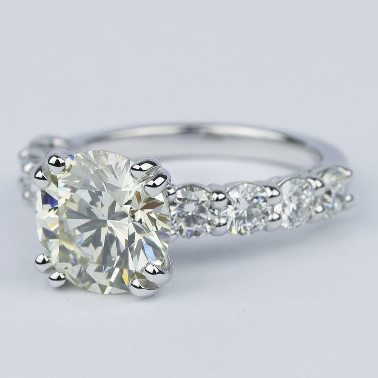 Diamond Engagement Ring with Large Side Diamonds (2 Carat) angle 2