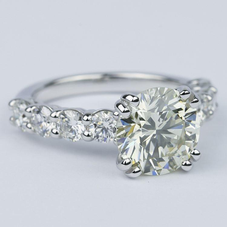 Diamond Engagement Ring with Large Side Diamonds (2 Carat) angle 3