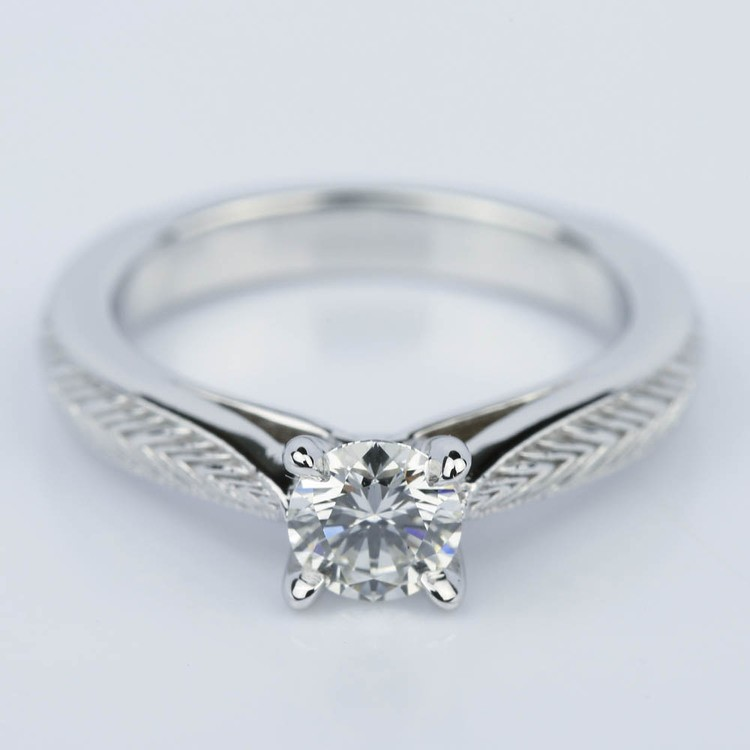 Custom Engraved Solitaire Engagement Ring (0.40 ct.)