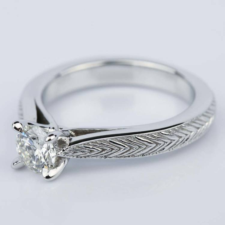 Custom Engraved Solitaire Engagement Ring (0.40 ct.) angle 2