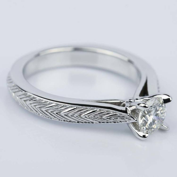 Custom Engraved Solitaire Engagement Ring (0.40 ct.) angle 3