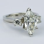 Marquise & Round Diamond Engagement Ring with Milgrain Detail (2.50 Carat) - small angle 3