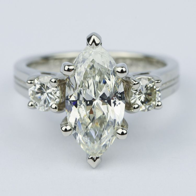Marquise & Round Diamond Engagement Ring with Milgrain Detail (2.50 Carat)