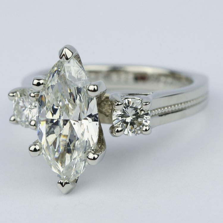 Marquise & Round Diamond Engagement Ring with Milgrain Detail (2.50 Carat) angle 2