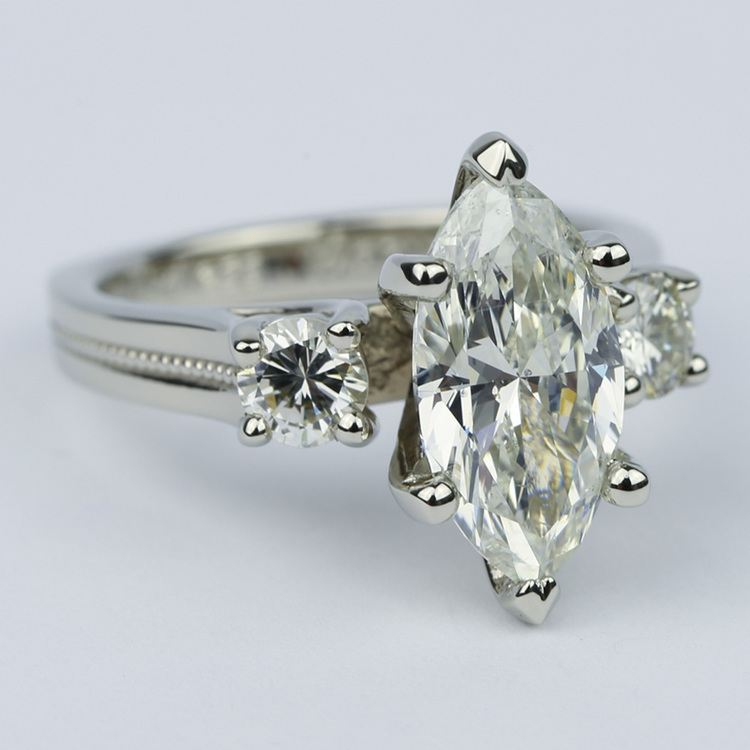 Marquise & Round Diamond Engagement Ring with Milgrain Detail (2.50 Carat) angle 3