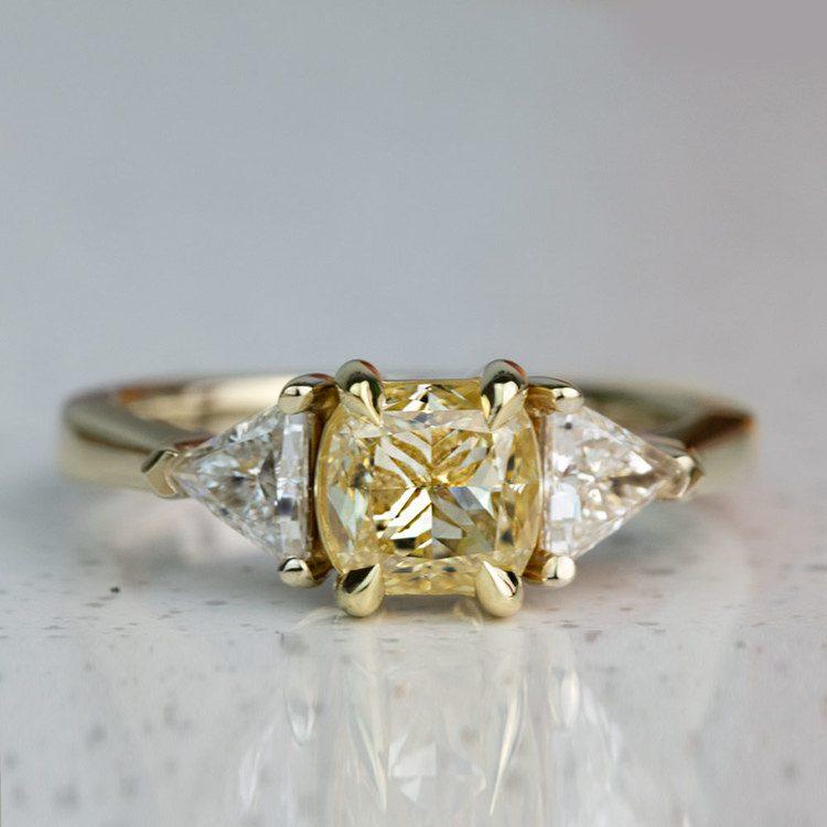 Custom Fancy Yellow Diamond Three Stone Engagement Ring