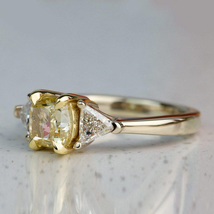 Custom Fancy Yellow Diamond Three Stone Engagement Ring  angle 2