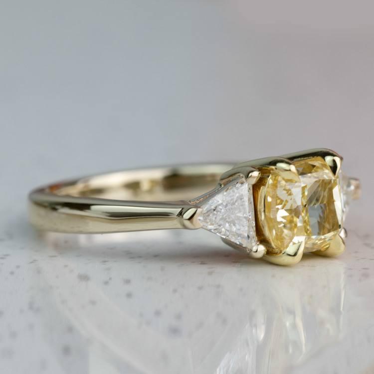 Custom Fancy Yellow Diamond Three Stone Engagement Ring  angle 3
