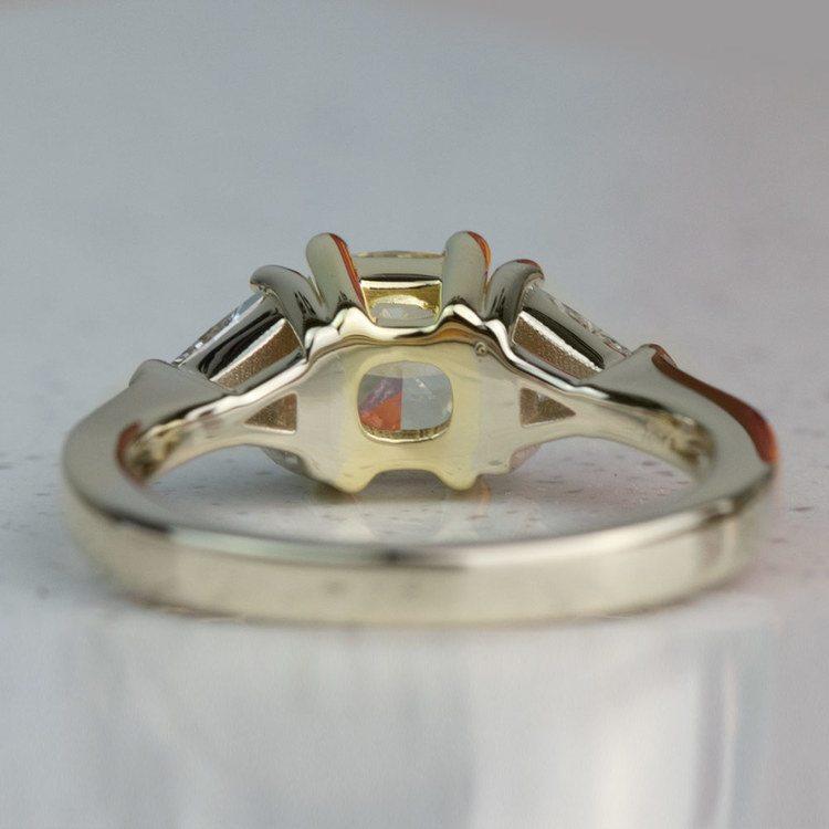 Custom Fancy Yellow Diamond Three Stone Engagement Ring  angle 4