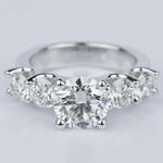 Custom Five Diamond Engagement Ring in White Gold (2.12 ct.) - small