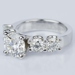 Custom Five Diamond Engagement Ring in White Gold (2.12 ct.) - small angle 2