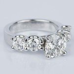 Custom Five Diamond Engagement Ring in White Gold (2.12 ct.) - small angle 3