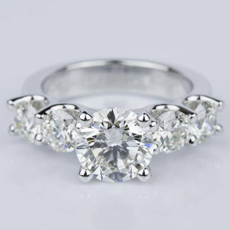 Custom Five Diamond Engagement Ring in White Gold (2.12 ct.)