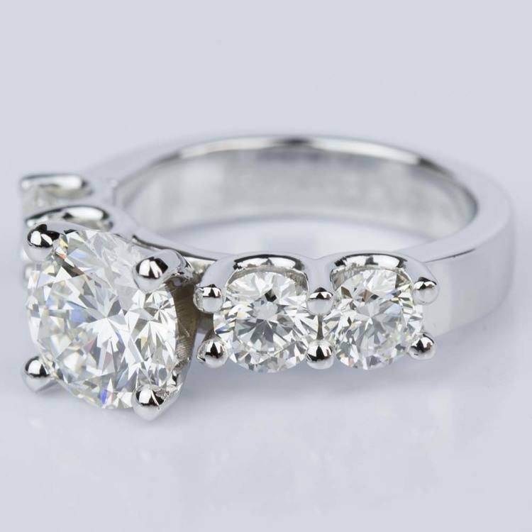 Custom Five Diamond Engagement Ring in White Gold (2.12 ct.) angle 2