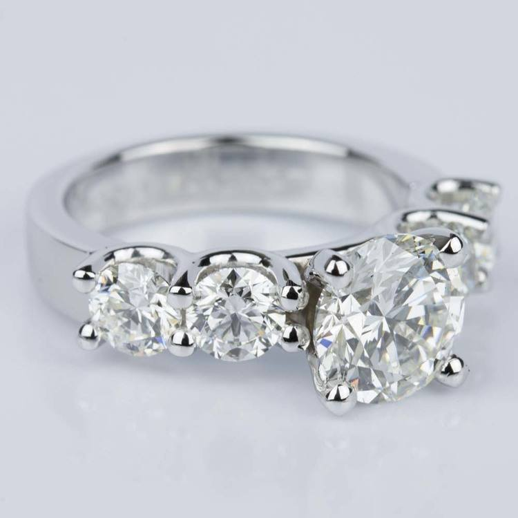 Custom Five Diamond Engagement Ring in White Gold (2.12 ct.) angle 3