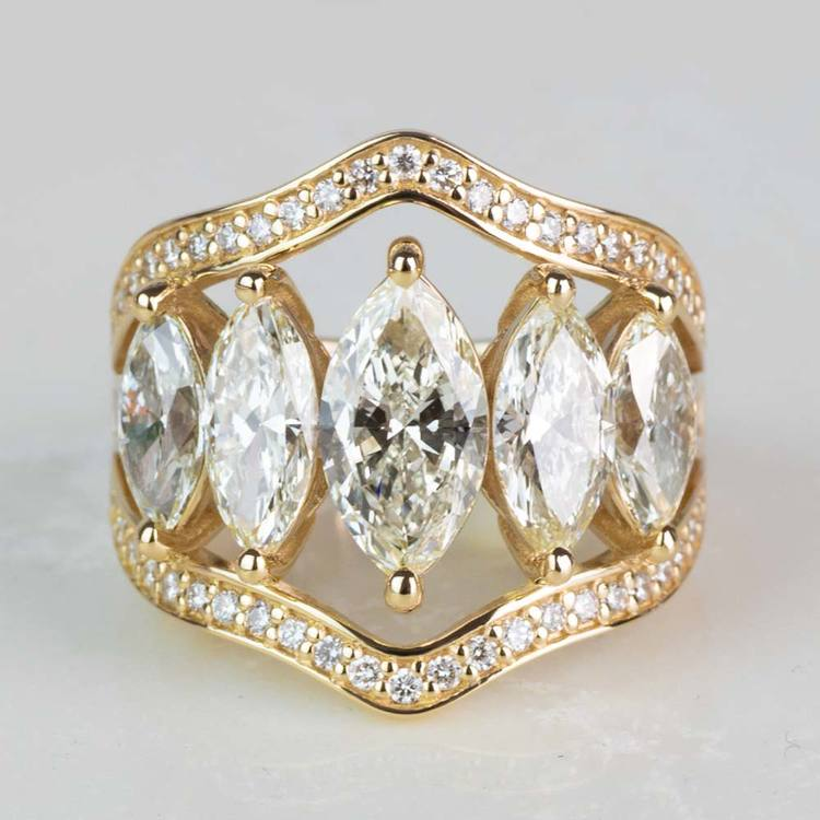 Custom Five Marquise Diamond Ring with Round and Baguette Side Diamonds