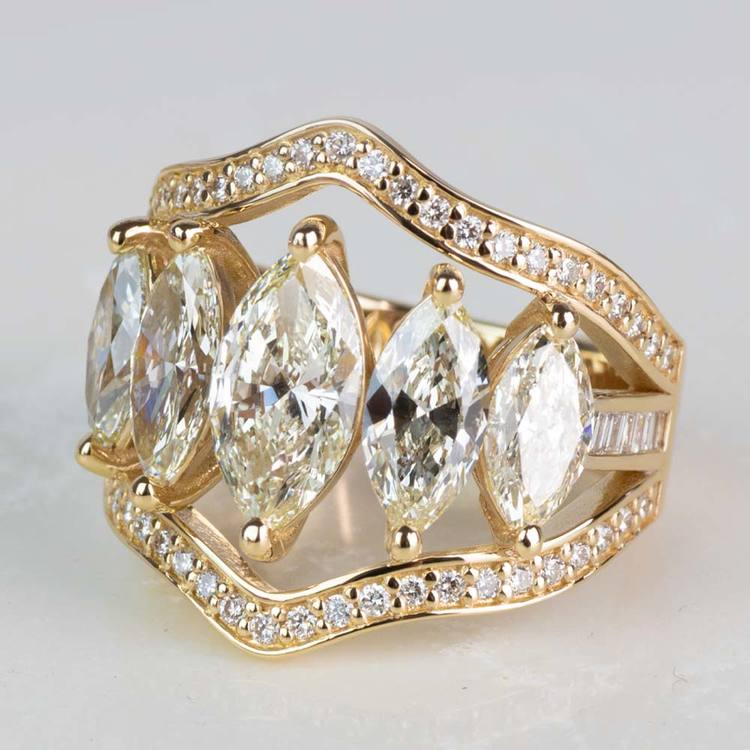 Custom Five Marquise Diamond Ring with Round and Baguette Side Diamonds angle 2