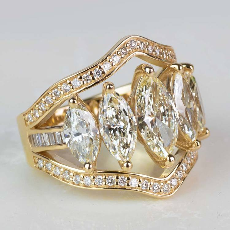 Custom Five Marquise Diamond Ring with Round and Baguette Side Diamonds angle 3