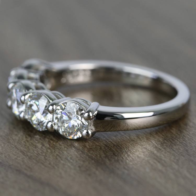 Custom Five-Stone Round Loose Diamond Engagement Ring angle 2