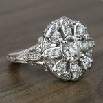 Floral Halo Diamond Engagement Ring (1 Carat) - small angle 3