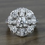 Floral Halo Diamond Engagement Ring (1 Carat) - small