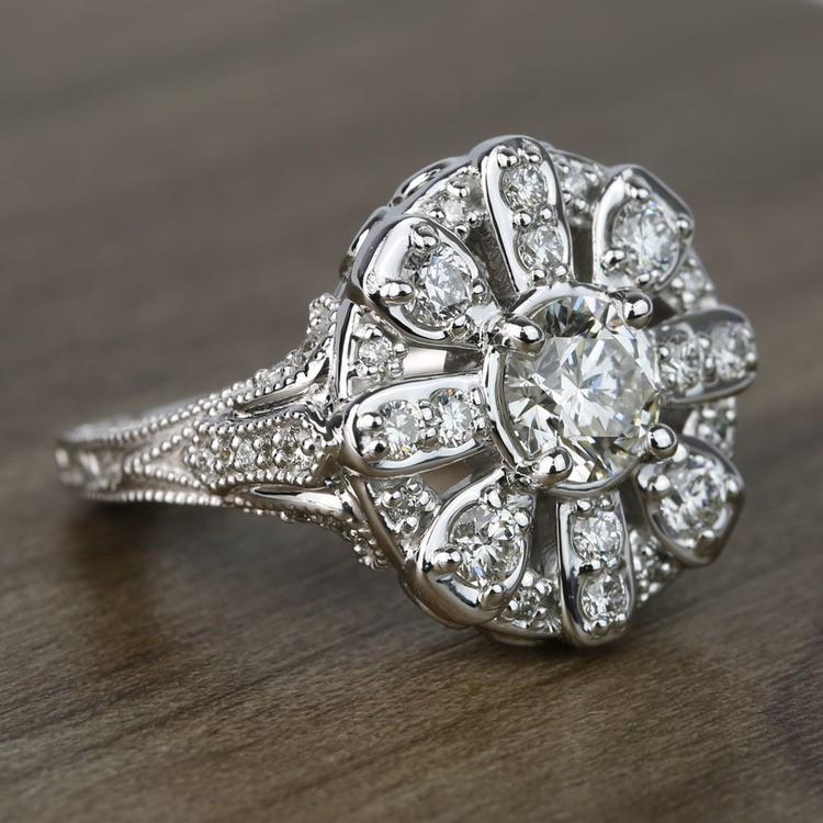 Floral Halo Diamond Engagement Ring (1 Carat) angle 3