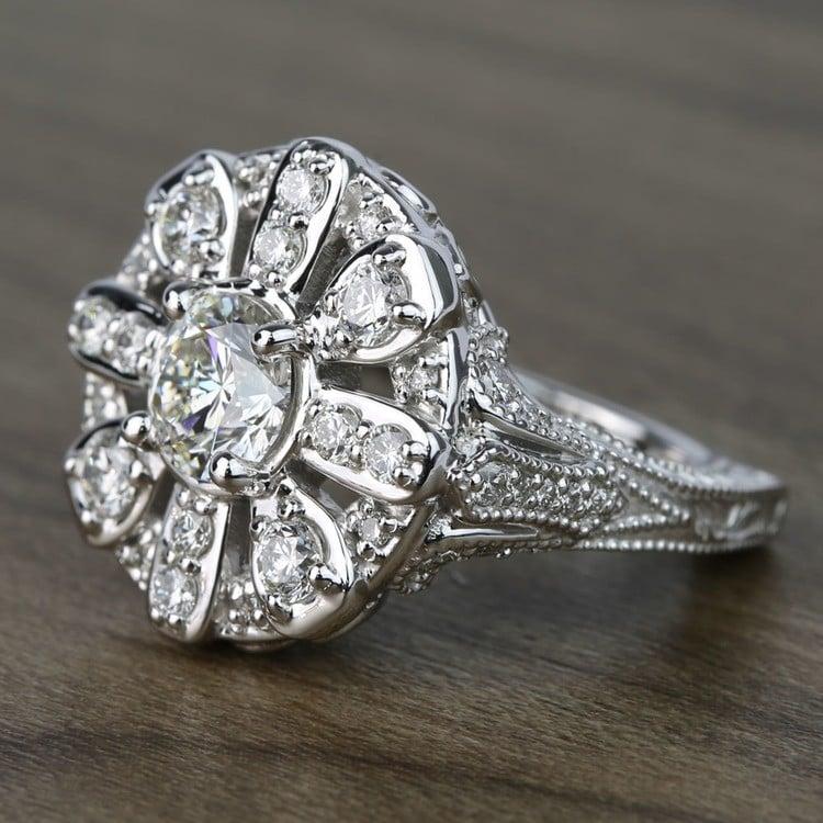 Floral Halo Diamond Engagement Ring (1 Carat) angle 2
