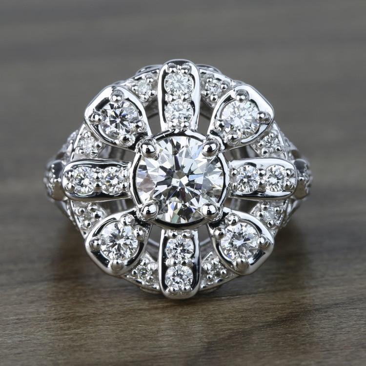 Floral Halo Diamond Engagement Ring (1 Carat)