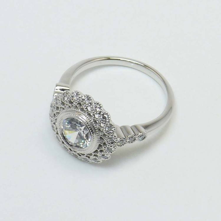 1 Carat Round Custom Flower Halo Diamond Engagement Ring angle 4