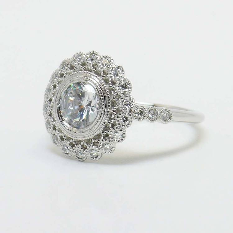 1 Carat Round Custom Flower Halo Diamond Engagement Ring angle 3