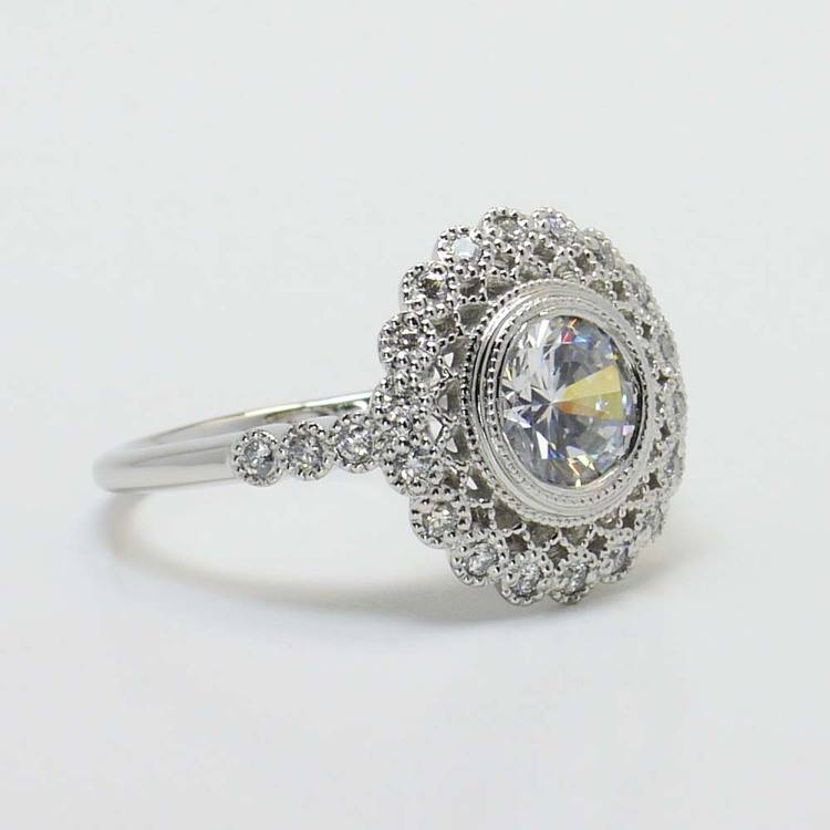 1 Carat Round Custom Flower Halo Diamond Engagement Ring angle 2