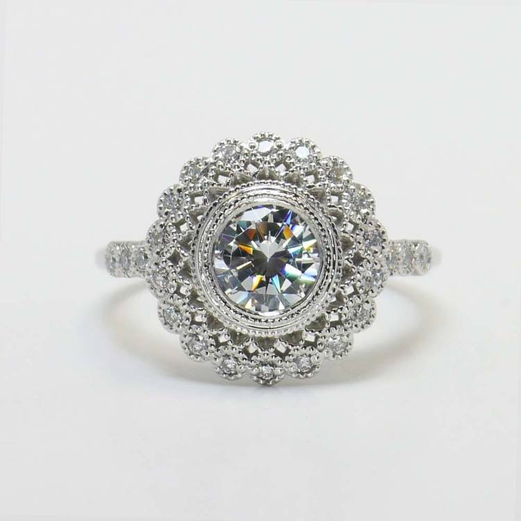 1 Carat Round Custom Flower Halo Diamond Engagement Ring