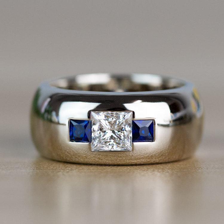 Custom Gemstone And Diamond Mens Engagement Ring