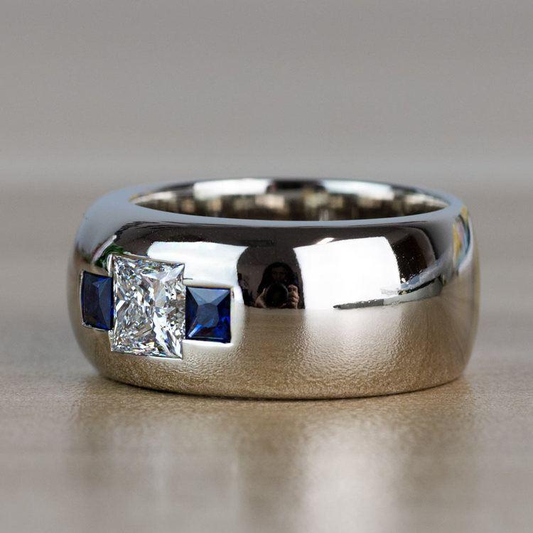Custom Gemstone And Diamond Mens Engagement Ring angle 2
