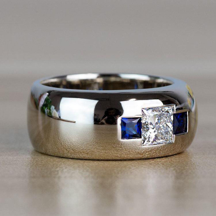 Custom Gemstone And Diamond Mens Engagement Ring angle 3