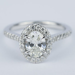 Micro-Pave Halo Oval Diamond Engagement Ring (0.90 ct.) - small