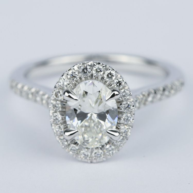 Micro-Pave Halo Oval Diamond Engagement Ring (0.90 ct.)