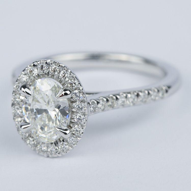 Micro-Pave Halo Oval Diamond Engagement Ring (0.90 ct.) angle 2