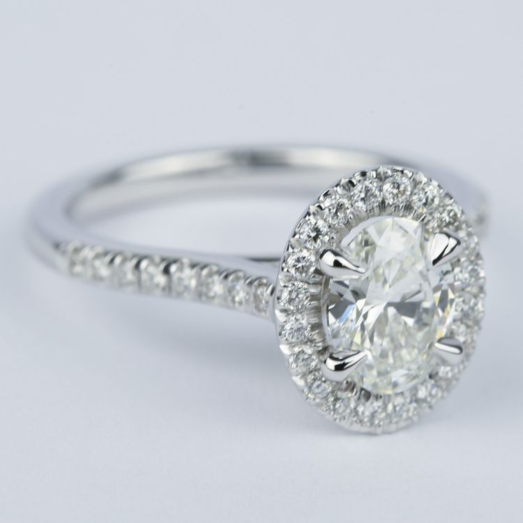 micro pave halo oval engagement ring 0 90 ct
