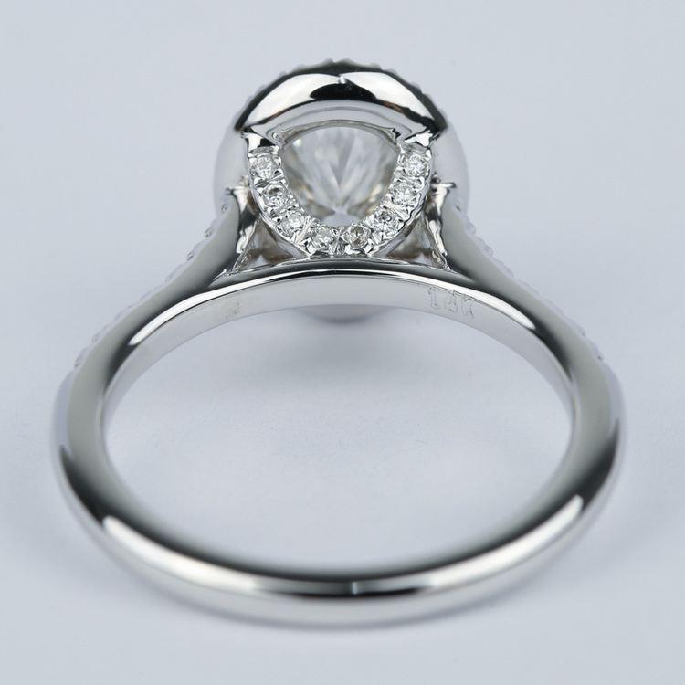 Micro-Pave Halo Oval Diamond Engagement Ring (0.90 ct.) angle 4